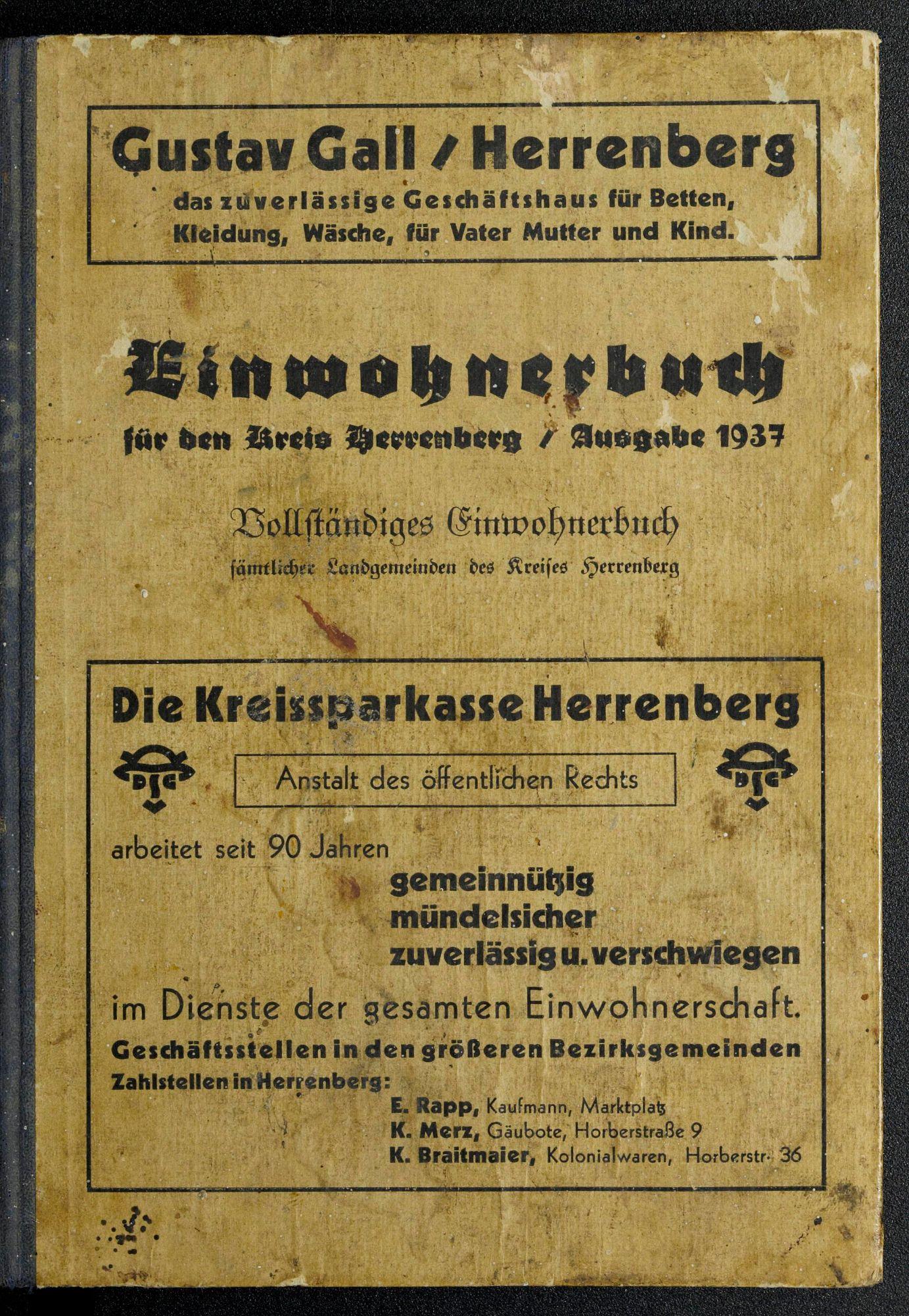Einwohnerbuch für den Kreis Herrenberg 1937
