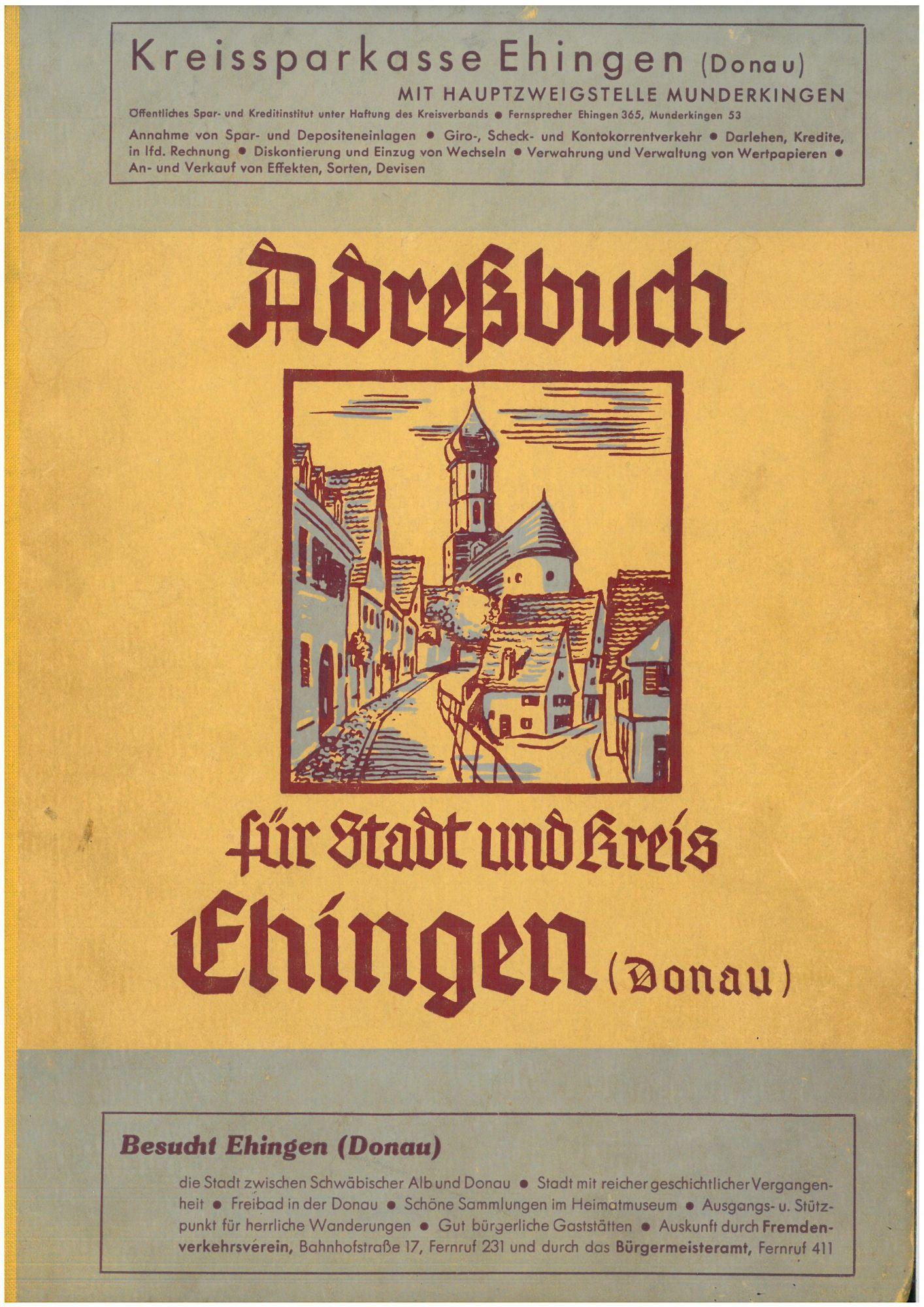 Adreßbuch für Stadt und Kreis Ehingen (Donau) 1943