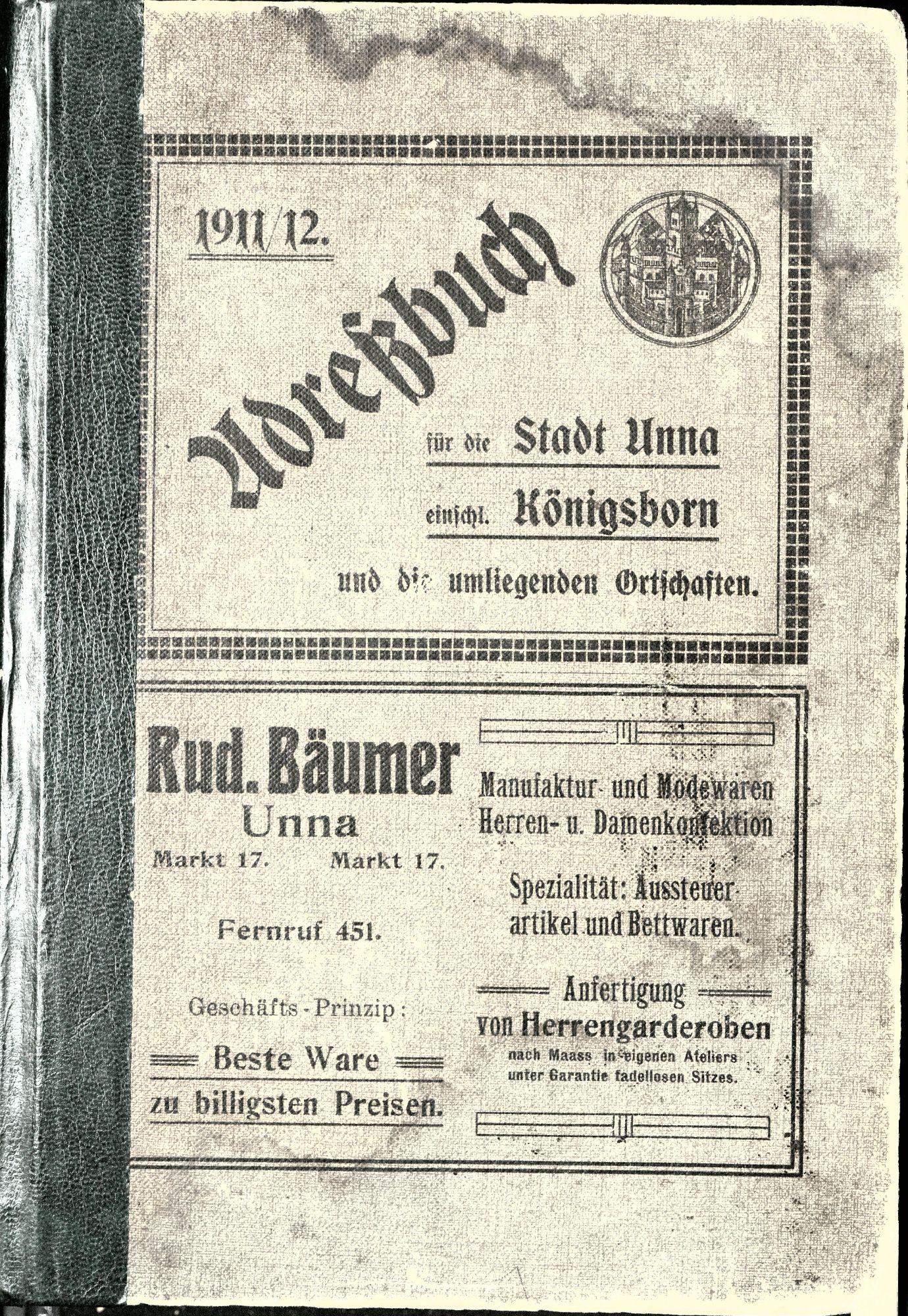 Adressbuch für die Stadt Unna 1911/12