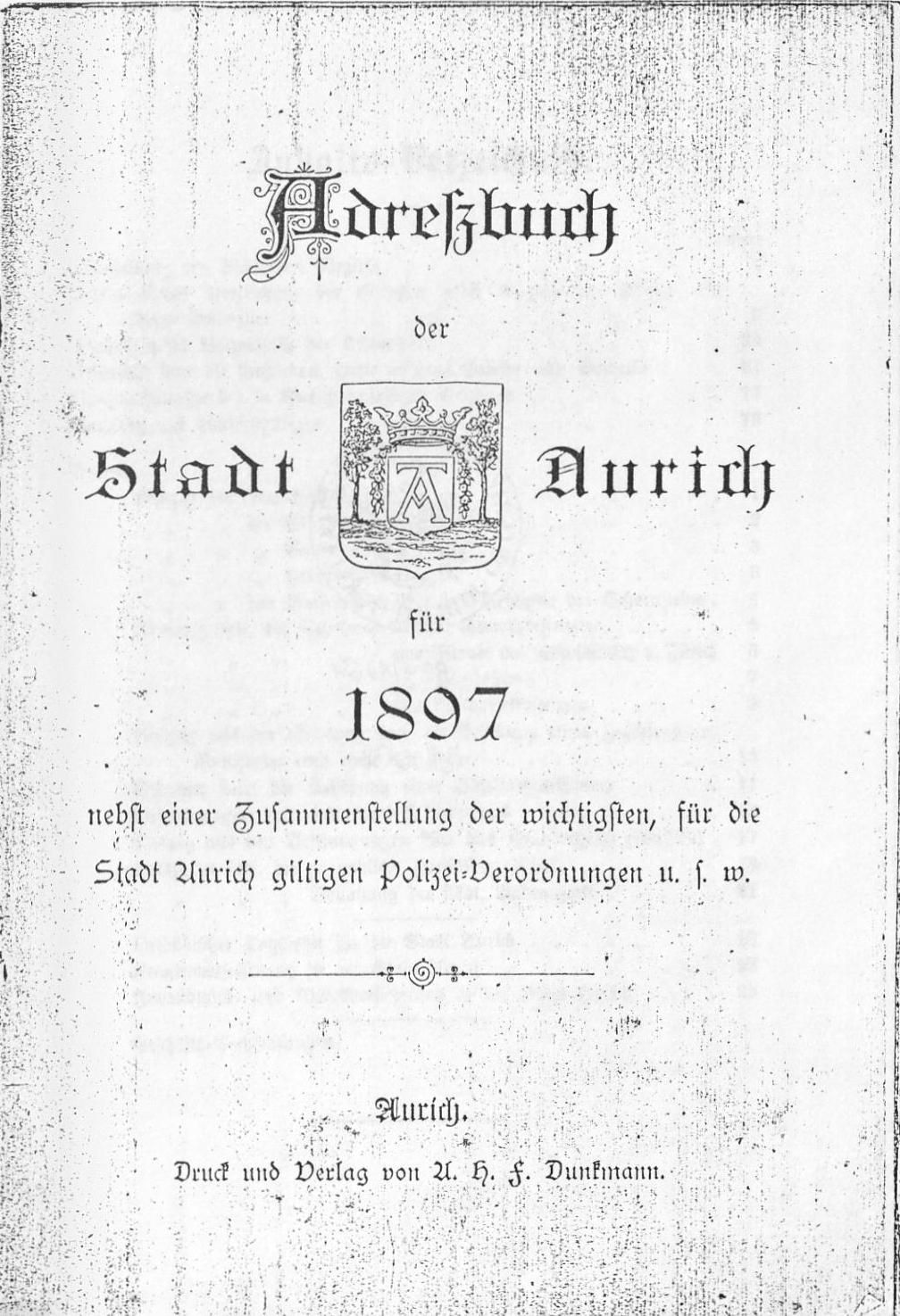 Adreßbuch der Stadt Aurich für 1897