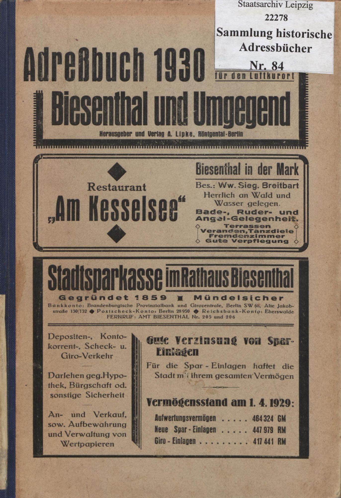 Adreßbuch 1930 für den Luftkurort Biesenthal und Umgebung