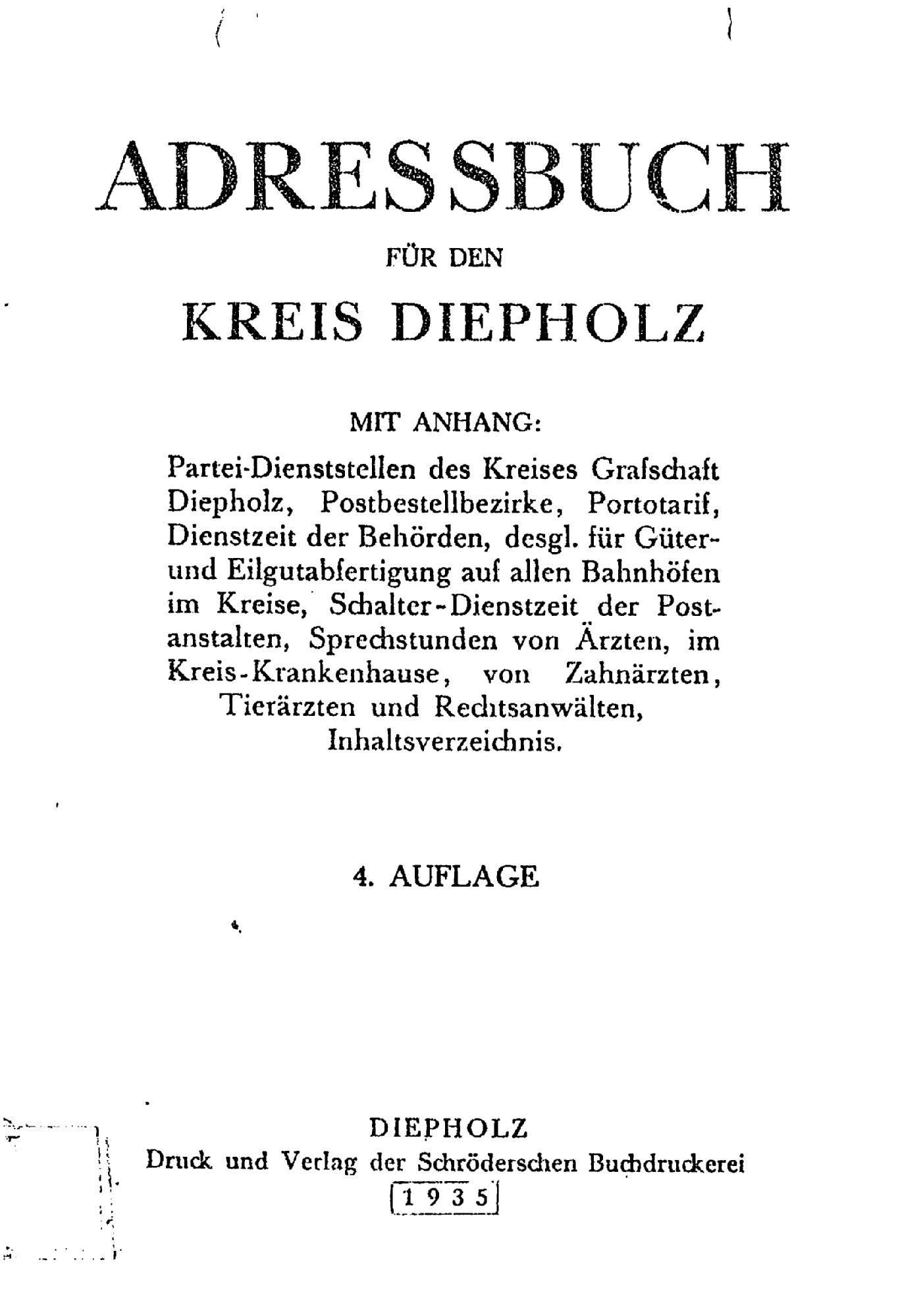 Adressbuch für den Kreis Diepholz 1935