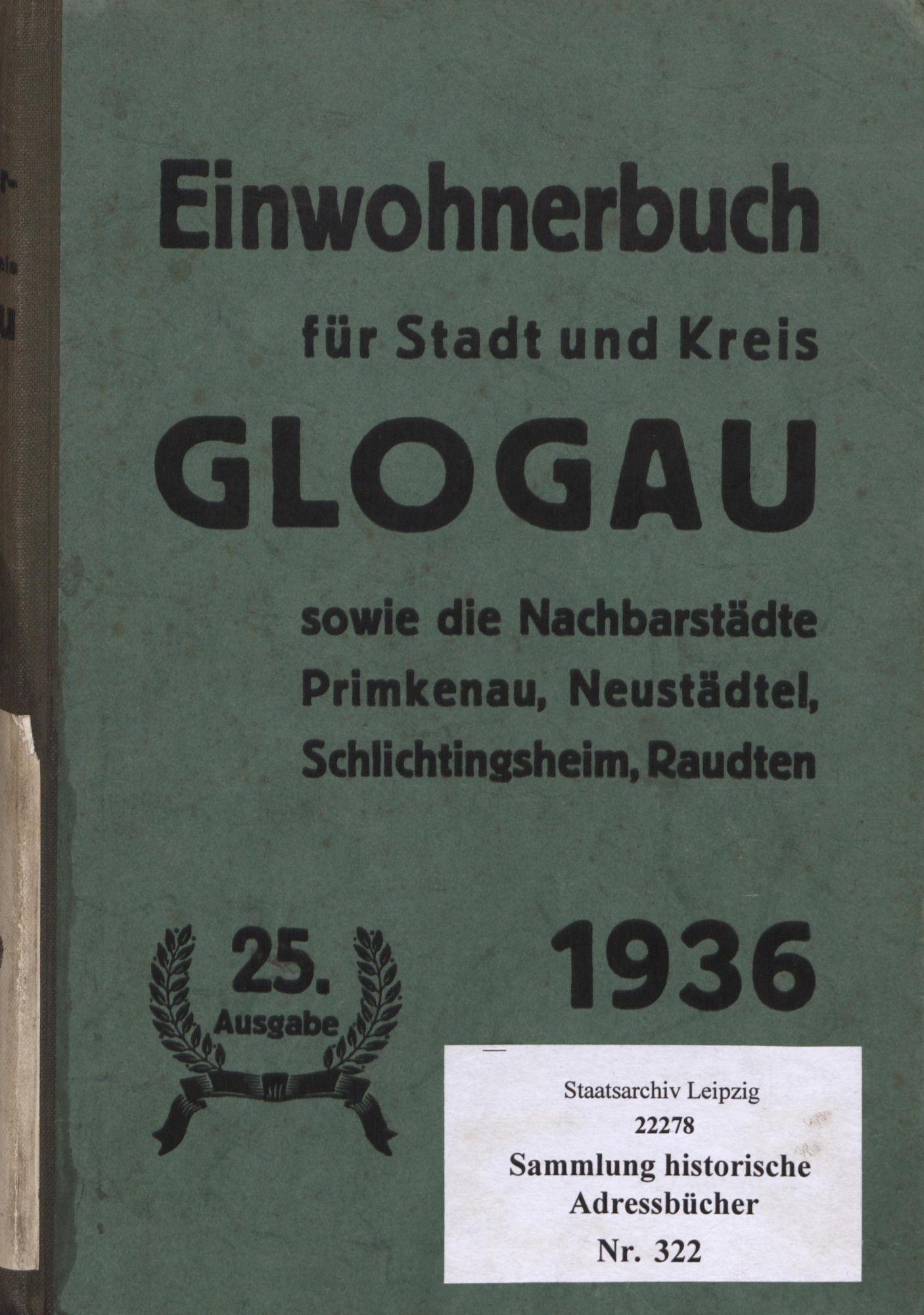 Einwohnerbuch für Stadt und Kreis Glogau 1936