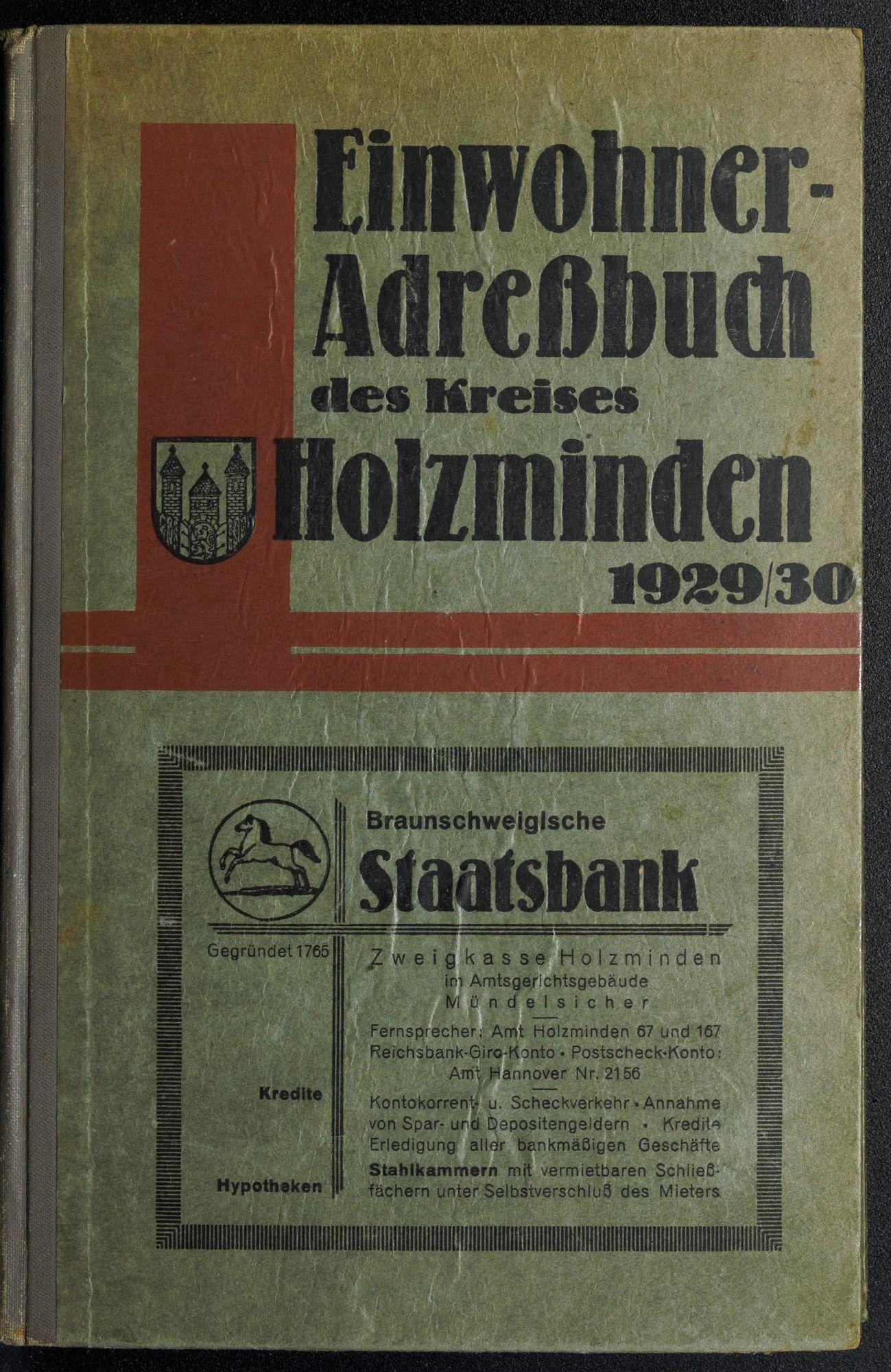 Einwohner-Adreßbuch des Kreises und der Stadt Holzminden 1929/30