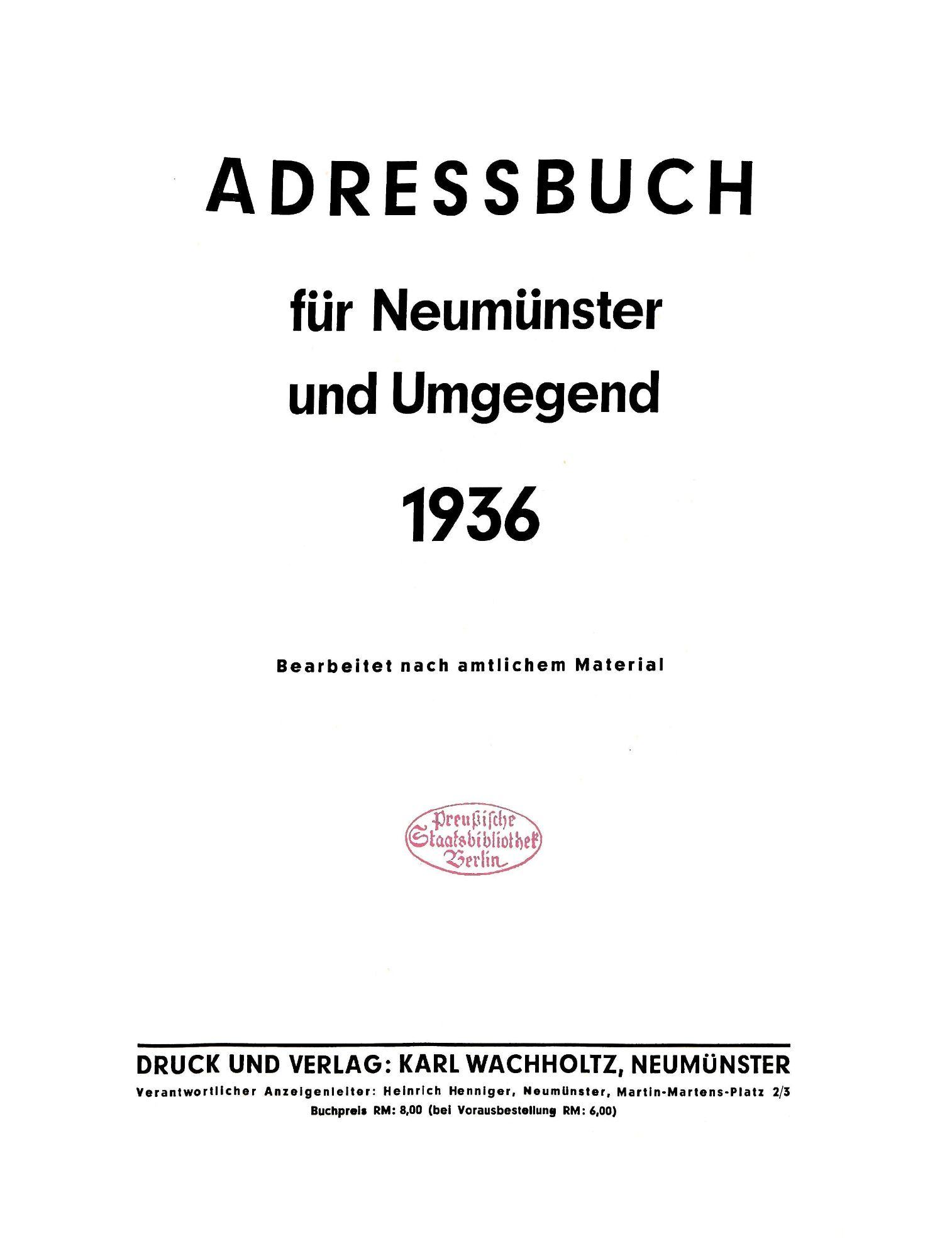 Adressbuch für Neumünster und Umgegend 1936