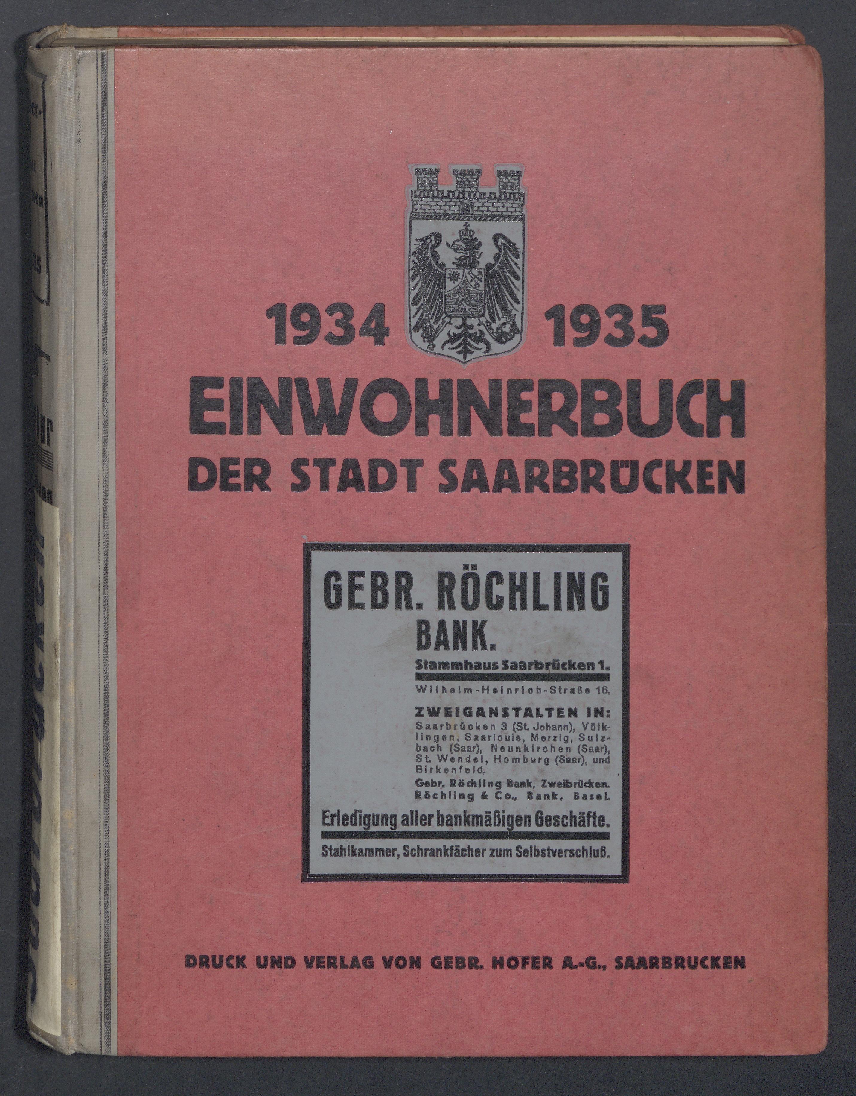 Einwohnerbuch der Stadt Saarbrücken 1934/1935
